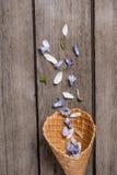 Όμορφα μπλε πέταλα στον κώνο γκοφρετών στο ξύλινο υπόβαθρο Στοκ Εικόνες