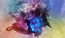 Όμορφα μόρια στο χρωματισμένο υπόβαθρο, τρισδιάστατη απεικόνιση Στοκ εικόνα με δικαίωμα ελεύθερης χρήσης