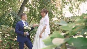 Όμορφα νέα newlyweds υπαίθρια σε ένα θερινό πάρκο απόθεμα βίντεο