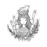 Όμορφα νέο κορίτσι, πουλιά, φωλιά, πουλιά και λουλούδια Στοκ φωτογραφία με δικαίωμα ελεύθερης χρήσης