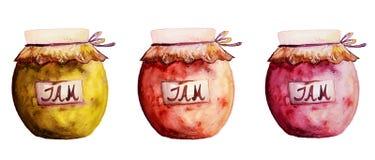 Όμορφα νόστιμα ορεκτικά βάζα μαρμελάδας με τη μαρμελάδα φρούτων Συρμένο χέρι W Στοκ εικόνες με δικαίωμα ελεύθερης χρήσης