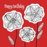 Όμορφα λουλούδια παπαρουνών καθορισμένα, ζωηρόχρωμη διανυσματική κάρτα διακοπών Στοκ Εικόνα