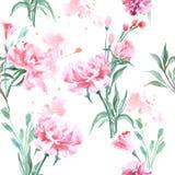Όμορφα λουλούδια Peonies, Watercolor που χρωματίζουν το άνευ ραφής σχέδιο διανυσματική απεικόνιση
