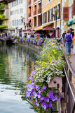 Όμορφα δοχεία λουλουδιών κατά μήκος των καναλιών στο Annecy, Γαλλία, γνωστή Στοκ εικόνες με δικαίωμα ελεύθερης χρήσης