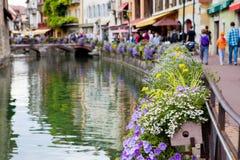Όμορφα δοχεία λουλουδιών κατά μήκος των καναλιών στο Annecy, Γαλλία, γνωστή Στοκ εικόνα με δικαίωμα ελεύθερης χρήσης