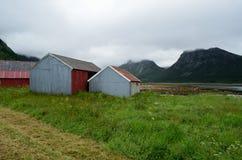 Όμορφα παλαιά σπίτια αλιευτικών σκαφών δίπλα στο θερινό φιορδ Στοκ Εικόνα