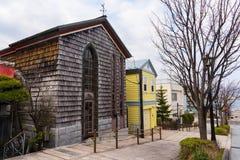 Όμορφα παλαιά σπίτια στην κλίση Motomachi, Hakodate Στοκ Εικόνες