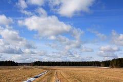 όμορφα πεδία πέρα από την άνοιξη ουρανού Στοκ Φωτογραφίες