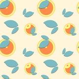 Όμορφα πορτοκαλιά φρούτα και φύλλα σχεδίων στο κίτρινο υπόβαθρο διανυσματική απεικόνιση