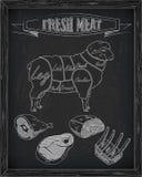 Όμορφα πρόβατα και τέμνον σχέδιο κρέατος Στοκ Φωτογραφία