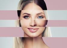 Όμορφα πρόσωπα της νέας γυναίκας απομονωμένο έννοια λευκό πλαστικής χειρουργικής στοκ φωτογραφία