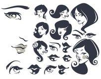 όμορφα πρόσωπα διανυσματική απεικόνιση