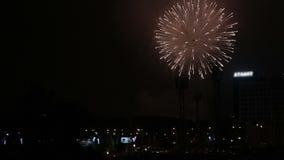 Όμορφα πυροτεχνήματα στην πόλη νυχτερινού ουρανού απόθεμα βίντεο
