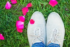Όμορφα πόδια στη χλόη σε ένα πάρκο στη φύση στοκ φωτογραφία με δικαίωμα ελεύθερης χρήσης