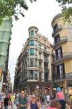Όμορφα σπίτια στο Las Ramblas, Βαρκελώνη Στοκ Φωτογραφίες