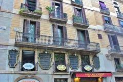 Όμορφα σπίτια στο Las Ramblas, Βαρκελώνη Στοκ Εικόνες