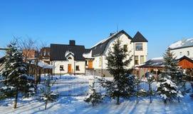 Όμορφα σπίτια το χειμώνα, Λιθουανία Στοκ Φωτογραφία