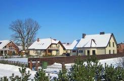 Όμορφα σπίτια το χειμώνα, Λιθουανία Στοκ Φωτογραφίες