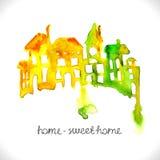 Όμορφα σπίτια Watercolor Στοκ Εικόνες