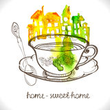Όμορφα σπίτια Watercolor Στοκ φωτογραφία με δικαίωμα ελεύθερης χρήσης