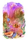 Όμορφα συρμένα χέρι φύκι και ψάρια απεικόνισης ελεύθερη απεικόνιση δικαιώματος