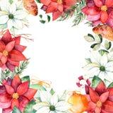 Όμορφα σύνορα πλαισίων watercolor με τα φύλλα, κλάδοι, fir-tree, σφαίρες Χριστουγέννων Στοκ Εικόνες