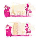 Όμορφα ταξίδια γυναικών στη Γαλλία και την Ιταλία, έμβλημα διανυσματική απεικόνιση