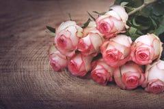 Όμορφα τριαντάφυλλα στο σκοτεινό ξύλο Στοκ Φωτογραφία