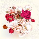 Όμορφα τριαντάφυλλα στο ύφος κρητιδογραφιών και watercolor Στοκ Φωτογραφίες