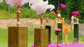 Όμορφα φτερά στους πίνακες γάμος κορδελλών πρόσκλησης λουλουδιών κομψότητας λεπτομέρειας διακοσμήσεων ανασκόπησης φιλμ μικρού μήκους