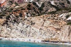 Όμορφα φυσικά χρώματα της παραλίας Firiplaka, Μήλος, Ελλάδα Στοκ εικόνες με δικαίωμα ελεύθερης χρήσης