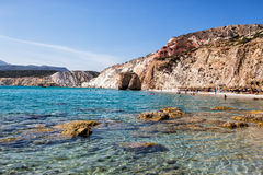 Όμορφα φυσικά χρώματα της παραλίας Firiplaka, Μήλος, Ελλάδα Στοκ Εικόνες