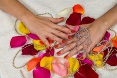 Όμορφα χέρια με ένα συμπαθητικό μανικιούρ Στοκ εικόνες με δικαίωμα ελεύθερης χρήσης