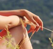 Όμορφα χέρια της γυναίκας και της φύσης στοκ εικόνα με δικαίωμα ελεύθερης χρήσης