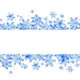 Όμορφα χειμερινά άνευ ραφής σύνορα snowflakes Ιδανικό για τις προσκλήσεις, κάρτες, αφίσες η διακοσμητική εικόνα απεικόνισης πετάγ στοκ εικόνα