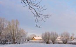 Όμορφα χιονώδη δέντρα και σπίτια Στοκ φωτογραφίες με δικαίωμα ελεύθερης χρήσης