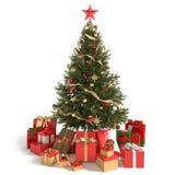 Όμορφα χριστουγεννιάτικο δέντρο και δώρα στοκ εικόνες με δικαίωμα ελεύθερης χρήσης