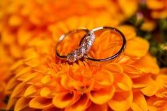 Όμορφα χρυσά γαμήλια δαχτυλίδια με τα διαμάντια στα πορτοκαλιά λουλούδια Στοκ εικόνα με δικαίωμα ελεύθερης χρήσης