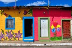 Όμορφα χρωματισμένα σπίτια Apaneca, Ελ Σαλβαδόρ Στοκ φωτογραφία με δικαίωμα ελεύθερης χρήσης