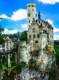 Όμορφα casles της Ευρώπης - εντυπωσιακό κάστρο Lichtenstein Στοκ φωτογραφίες με δικαίωμα ελεύθερης χρήσης