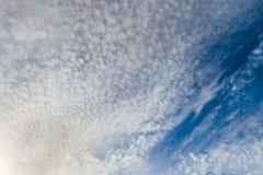 Όμορφα cirrus σύννεφα σε έναν σκούρο μπλε ουρανό στο ηλιόλουστο φως Στοκ Φωτογραφία