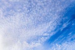 Όμορφα cirrus σύννεφα σε έναν φωτεινό μπλε ουρανό στο ηλιόλουστο φως Στοκ εικόνα με δικαίωμα ελεύθερης χρήσης