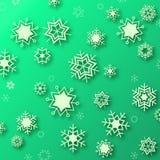 Όμορφα snowflakes στο πράσινο υπόβαθρο - χειμερινή απεικόνιση Απεικόνιση αποθεμάτων
