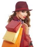 Όμορφες αγορές γυναικών και φθινοπώρου στοκ φωτογραφία με δικαίωμα ελεύθερης χρήσης
