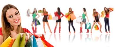 όμορφες αγορές κοριτσιών Στοκ Εικόνα