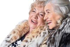 Όμορφες ανώτερες γυναίκες στα παλτά γουνών που απομονώνονται στο άσπρο υπόβαθρο στοκ εικόνα