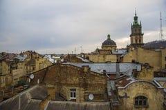 Όμορφες απόψεις του ιστορικού τετάρτου της πόλης Lviv Στοκ Φωτογραφία