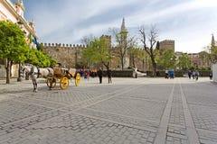 Όμορφες απόψεις Plaza del Triunfo, Σεβίλη, Στοκ φωτογραφία με δικαίωμα ελεύθερης χρήσης