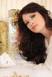 Όμορφες γυναίκες με χρυσό snowflake Στοκ εικόνα με δικαίωμα ελεύθερης χρήσης