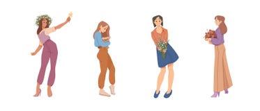 Όμορφες γυναίκες που κρατούν τις ανθοδέσμες των λουλουδιών στα χέρια Καλοκαίρι, ημέρα μητέρων, ευτυχής ημέρα γυναικών s 8 Μαρτίου διανυσματική απεικόνιση